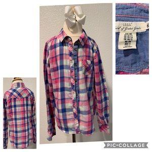 H&M size 10/11 girls plaid blue & pink GUC